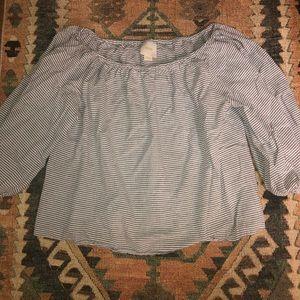 Off the shoulder striped blouse